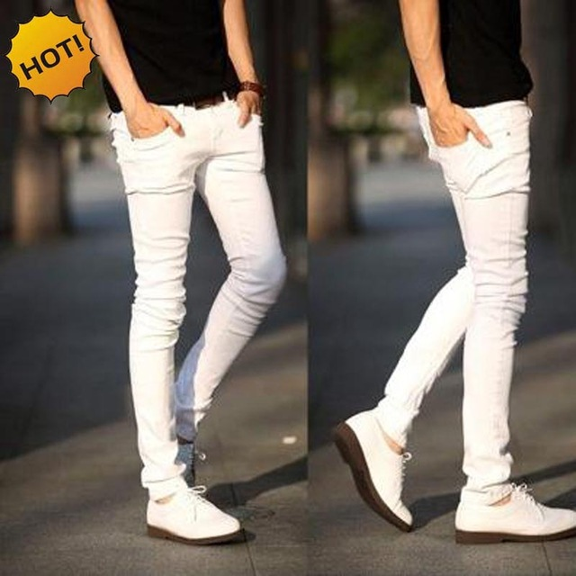 NEW 2018 indoor Solid Casual white boys hip hop   jeans   men teenager pencil pants skinny students streetwear   jeans   men homme 27-34