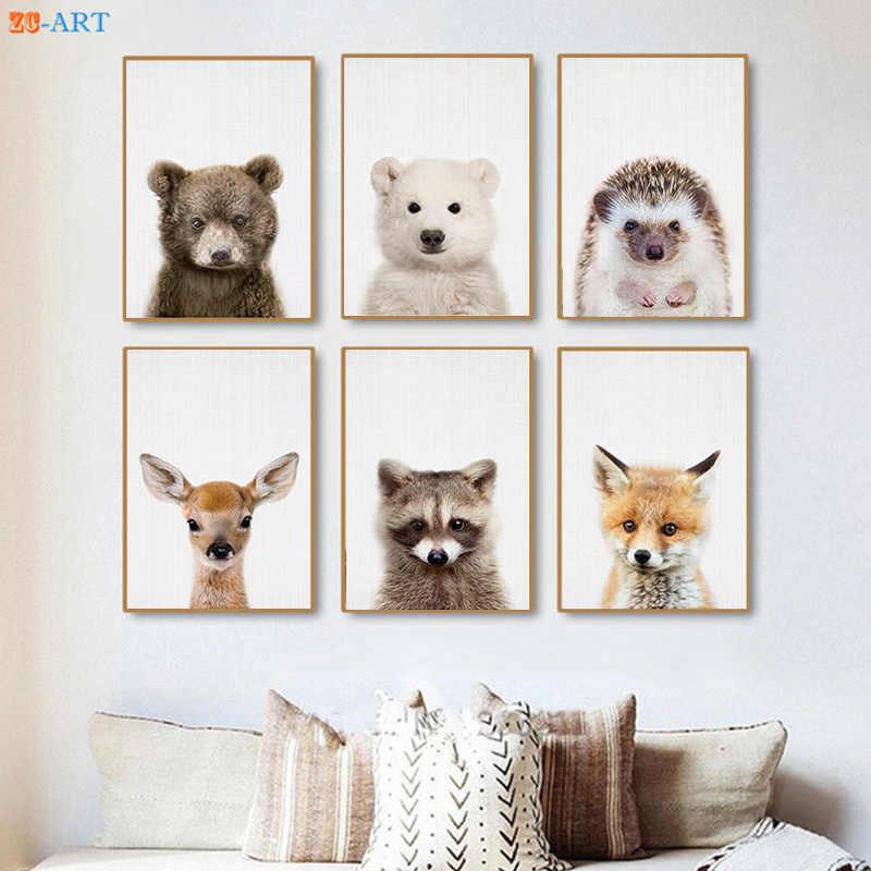 Charming Baby Polar Bear Deer Fox Hedgehog Prints Woodland Nursery Animal Wall Art  Kids Room Large Canvas