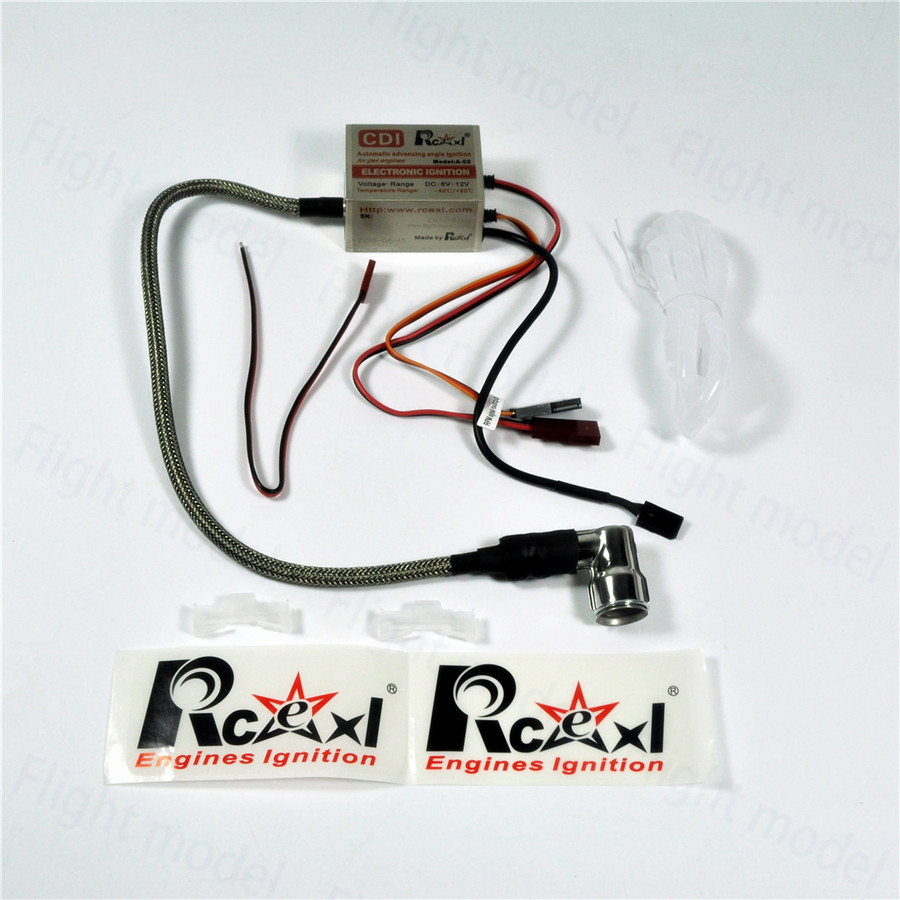 Rcexl Single Ignition CDI For NGK CM6 10mm Spark Plug 90 Degree DA DLE Gas Petrol Engine RC Airplane 6V-12V ngk 5767 spark plug