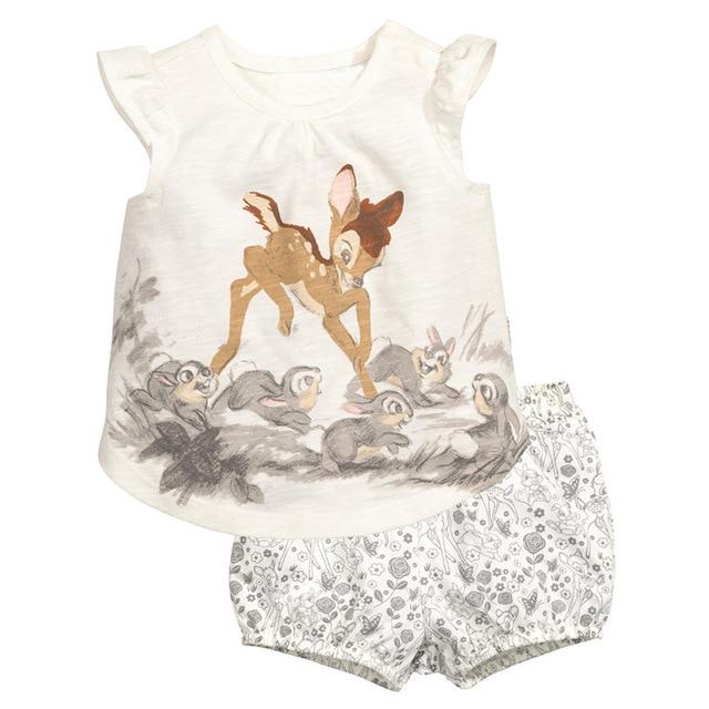 Девушки Летние Комплекты (Животных Топы + Шорты) Марка 100% Хлопок Дети Костюмы Девушки Детская Одежда Vetement Дочь Ребенка девушка Одежда