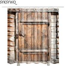 Cortina de Ducha de lujo de decoración de granja de puerta de madera 3d Cortinas Ducha Envío Directo cortina de baño impermeable para Baño