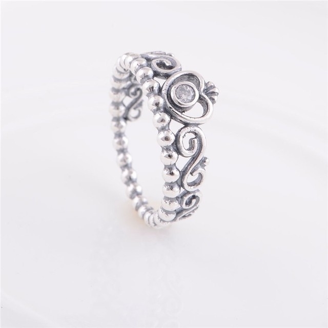 Rings Compatible with European Jewelry Princess Crown Charm Wedding Rings New Original 100%  Sterling Silver Jewelry