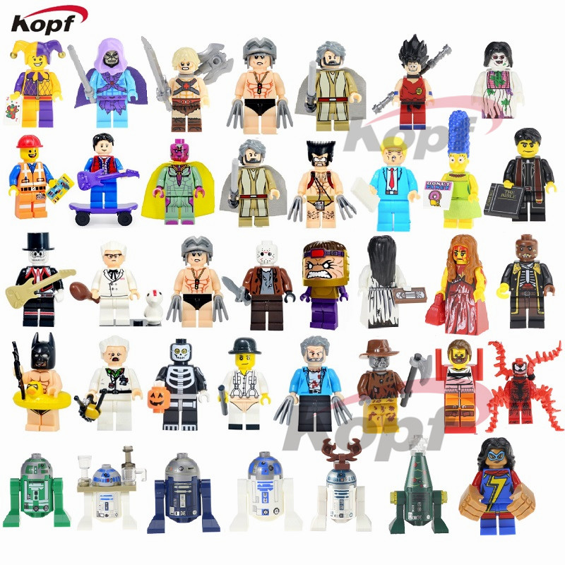 Super Heroes Ghostface Skeletor Joker He-Man He Man Heman Luke Skywalker Wolverine Marty McFly Building Blocks Toys for children building blocks super heroes back to the future doc brown and marty mcfly with skateboard wolverine toys for children gift kf197