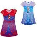 2016 novo Design meninas vestido de princesa, Elsa Anna camisola camisola, Sleepwear, Crianças roupas, Crianças pijamas costumes pano