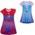 2016 nuevas muchachas del diseño del vestido de la princesa, Elsa Anna camisón camisón, chica ropa de dormir, ropa los niños, pijamas de los cabritos de aduanas paño