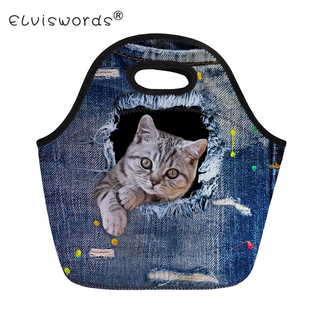 ELVISWORDS Animal Lunch Bag for Women Ladies Cute Denim Cat Print Kids Lunch Box Children Dinner Food Bag Thermal Insulated