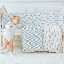 Baby Bedding Set Cute Cloud Pattern Children's Bed Linen Incluiding Quilt Pillow Cot Bumper Bed Sheet Cotton Crib Kit For Kids