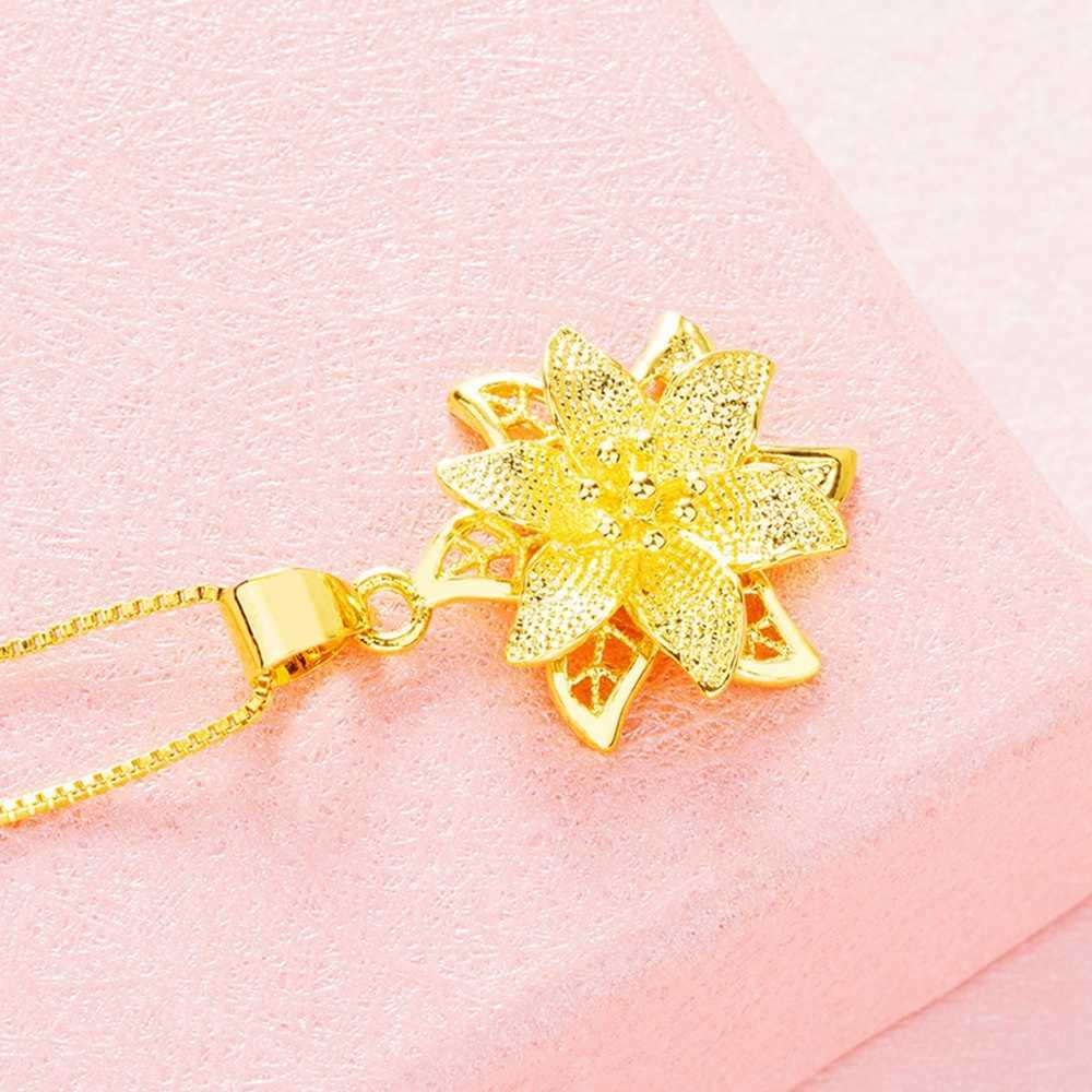 פיליגרן פרח תליון שרשרת צהוב גולדפילד נשים תליון שרשרת מתנה