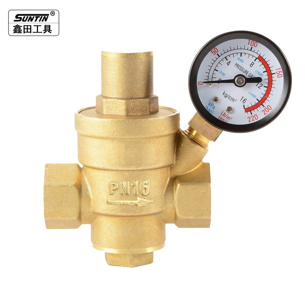 Suntin Brass Water Pressure Regulator Valve DN20 3/4 Adjustable Water Pressure Reducer Reducing Valve with Pressure Gauge Bar чехол для декоративной подушки розовая гортензия 45х45 см p802 8920 1 1058620