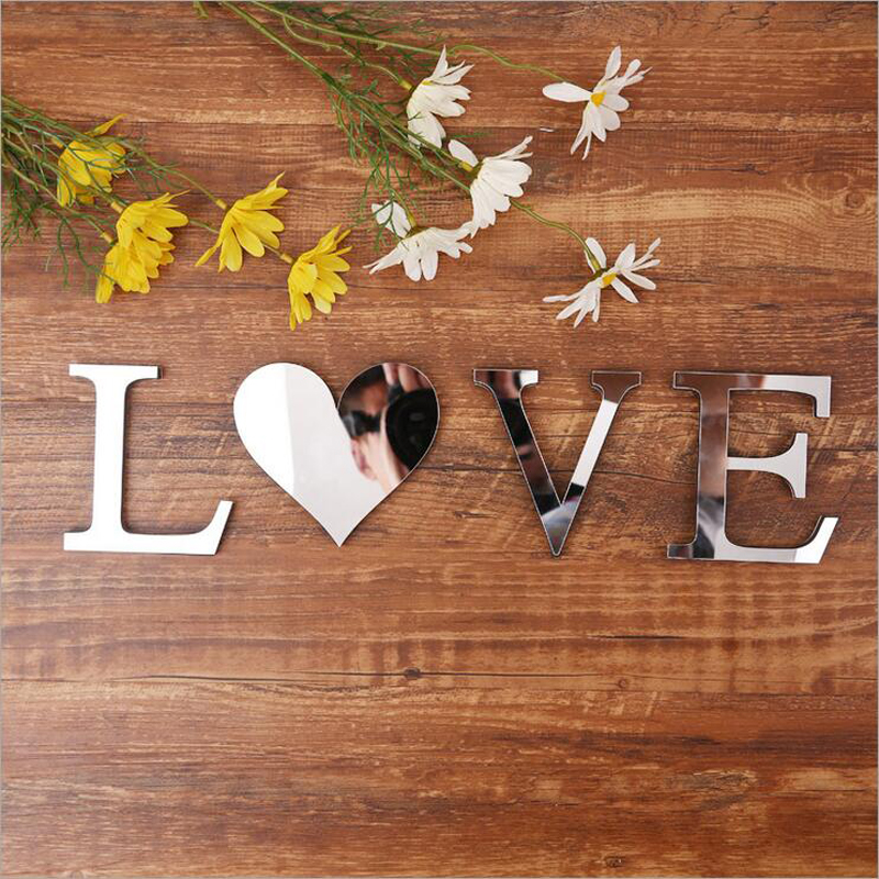 Modern Hot Style Home Furnishing Acrylic Mirror Words EVA English Letter Decoration Creative Wall Stickers