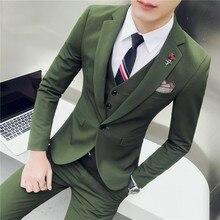 2018 Spring Men's Suit Jacket & Pants & Vests , Wedding Banquet Men Suit 3 Piece Set , Size S-3XL