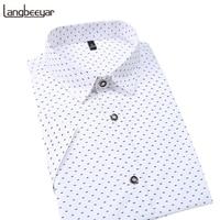 Chaude 2018 Été Nouvelle Marque De Mode Vêtements Hommes Chemise À Manches Courtes Polka Dot Slim Fit Shirt 100% Coton Casual Chemises Hommes M-5XL
