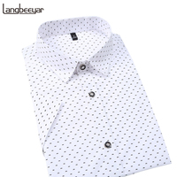 Hot 2017 Summer New Fashion Brand Clothing Men Short Sleeve Shirt Polka Dot Slim Fit Shirt