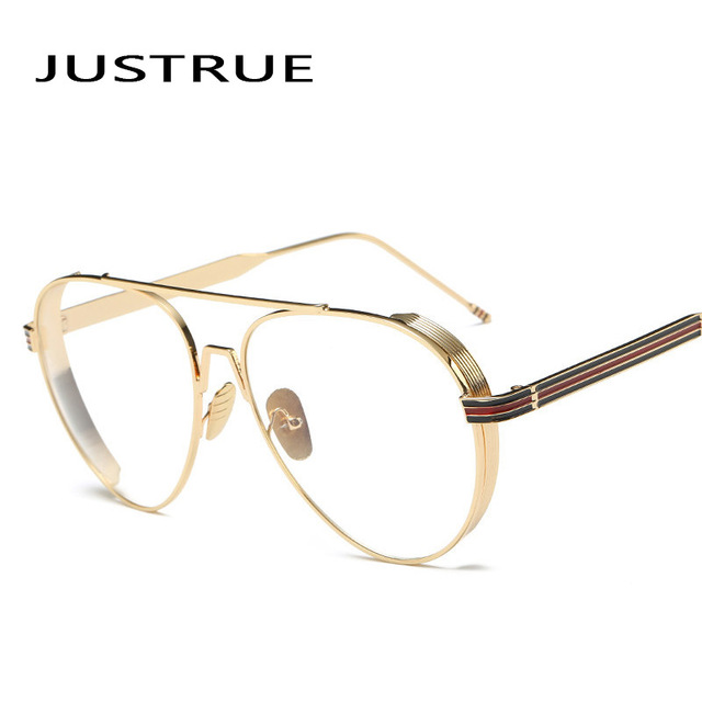 a605a09a2 JUSTRUE New 2017 Eyeglasses Thick Metal Frame Aviator Glasses Clear lens  Vintage Eyeglasses Men and Women Spectacles Eyewear