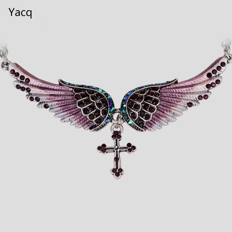 YACQ Angel Wing Cross Choker Necklace Women Biker Jewelry Gifts Crystal Ant..