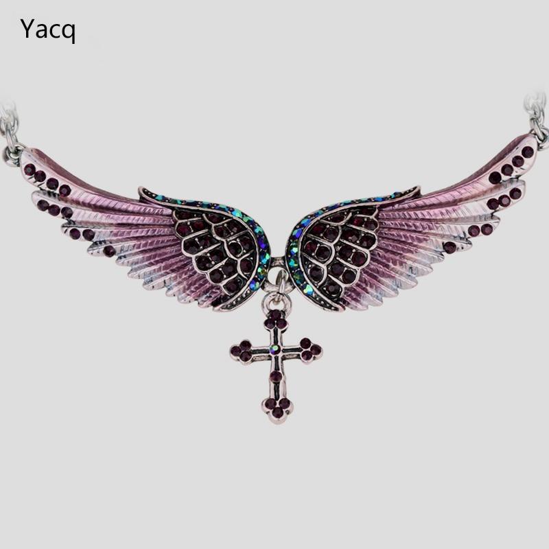 YACQ Angel Wing Cross Choker Necklace Women Biker Jewelry Gifts Crystal Ant..