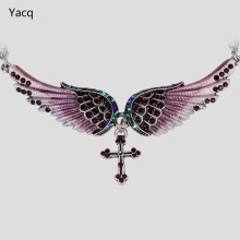 YACQ Angel Wing Cross Choker Necklace Women Biker Jewelry Gifts Crystal Antique Silver Color NC01 Wholesale Dropshipping (18+2)""