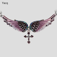 Angel Wing Cross Necklace Women Biker Jewelry W Crystal Adjustable NC01
