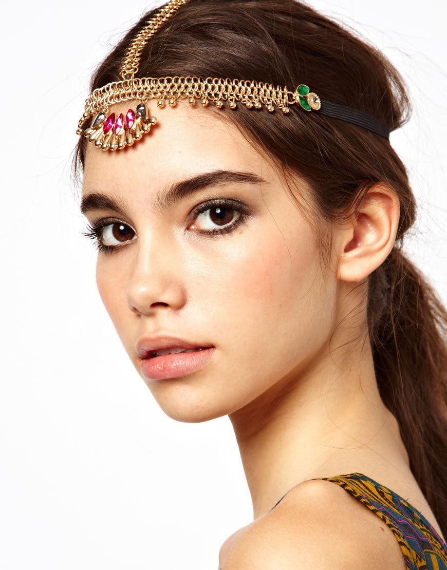 fashion indian boho gold color crystal beads tassel hair band
