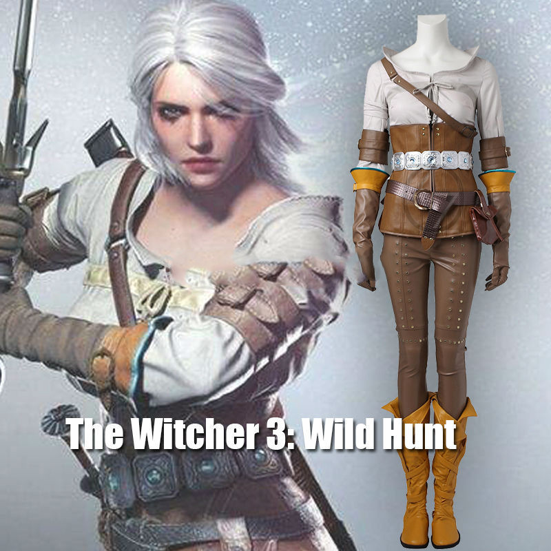 2017 The Witcher 3 sauvage chasse Cirilla Costume Cosplay vêtements jeu Costume adulte femmes Halloween carnaval ensemble entier femme personnalisé
