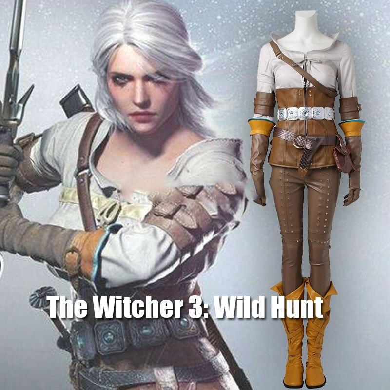 2017 The Witcher 3 sauvage chasse Cirilla Costume Cosplay vêtements jeu Costume adulte femmes Halloween carnaval ensemble entier femme personnalisé