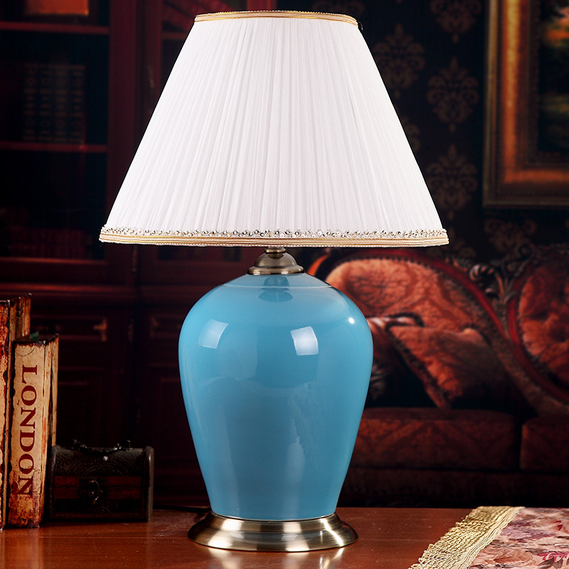 China Antique Living Room Vintage Table Lamp Porcelain Ceramic Table Lamp wedding decoration modern table lamp blue glazed in LED Table Lamps from Lights Lighting