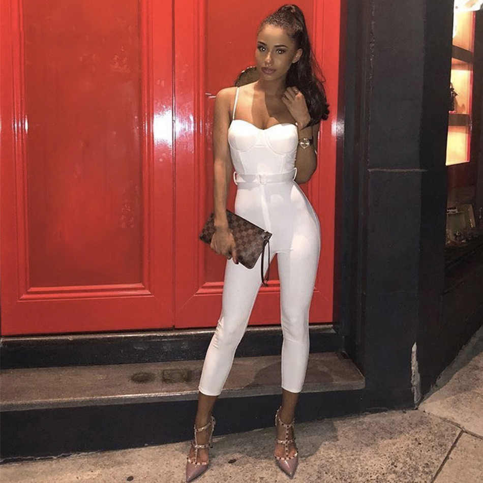 5d7a80b8561f Seamyla New Sexy White Night Out Jumpsuit Strapless Women Bodycon Bandage  Jumpsuits Skinny Club Celebrity Party
