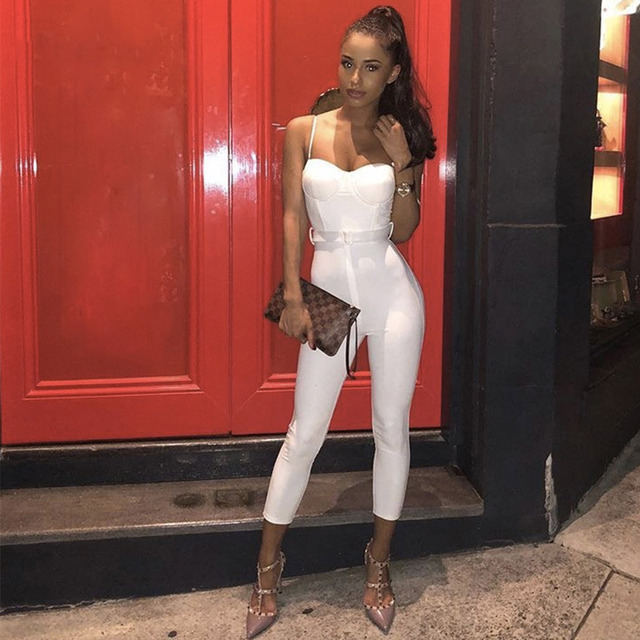 Seamyla New Sexy White Night Out Jumpsuit Strapless Women Bodycon Bandage Jumpsuits Skinny Club Celebrity Party Playsuits 2018