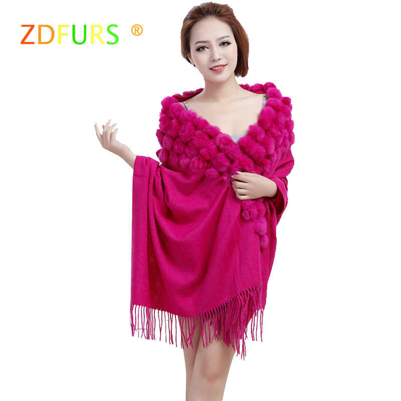 ZDFURS* new female scarf shawl pashmina thick winter natural rabbit fur pompom ball cape female muffler christmas gift