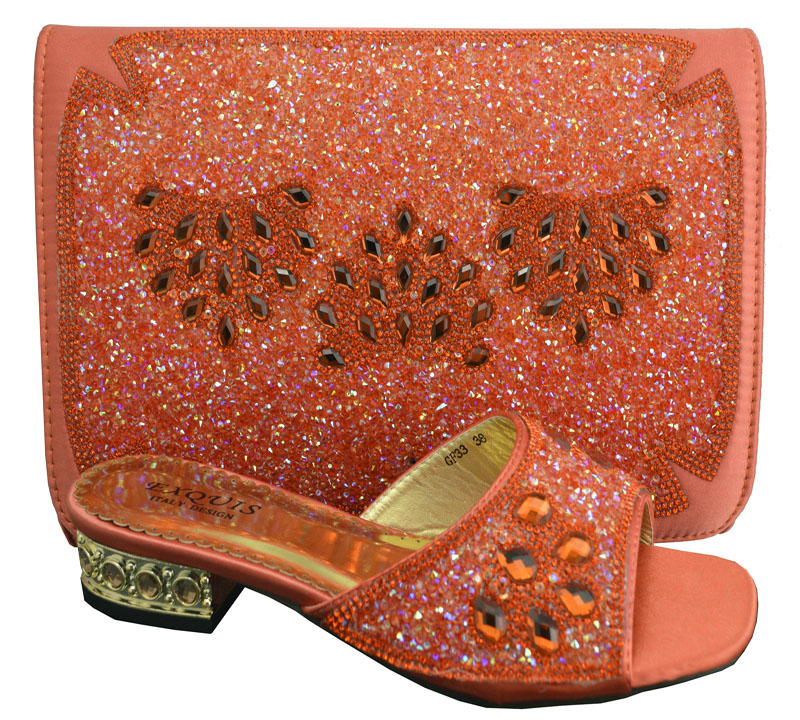 ФОТО orange!on sale Italian ladies shoes and matching bag with rhinestone,good quality African shoes and bag for party!! !HP1-53