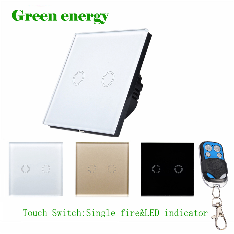 EU Standard Remote Control Touch Switch Remote Wall Light Switch With Cystal Glass Panel & LED Indicator,170~250v, Touch Switch us 1gang hotel tempered glass panel smart house wall light switch remote control switch touch control light switch led indicator