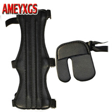 1 pc Archery 3 Strap Arm guard Cow Leather Finger Guard Glove Tab bow Protective Set
