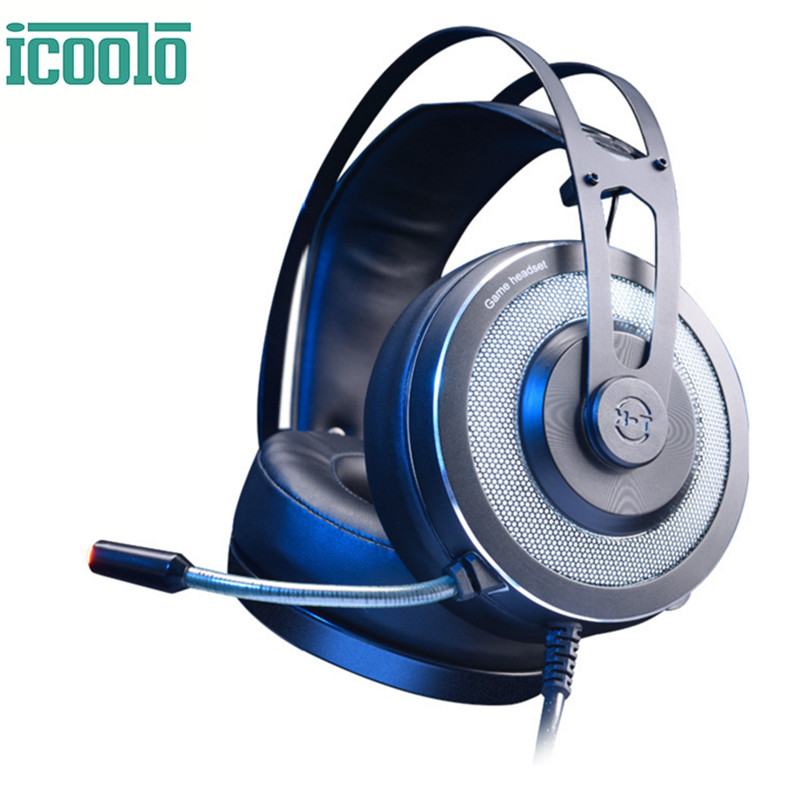 ICOOLO X-200 Headphones Gaming Headset Noise Cancelling Over-Ear Headphone Computer Gamer Headset for PC Laptop Tablet Mac Chat tronsmart encore s6 bluetooth headphones active noise cancelling wireless headphone gamer gaming foldable design headset