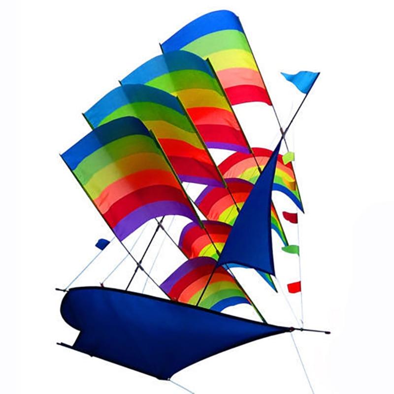 Funny 3D Sailboat Style Kite Large Flying Kite Children Outdoor Running Toy Kit