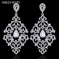 Mecresh Elegant Rhombus Long Earrings Silver Plated WaterDrop Crystal Drop Earrings for Women Fashion Wedding Jewelry MEH763