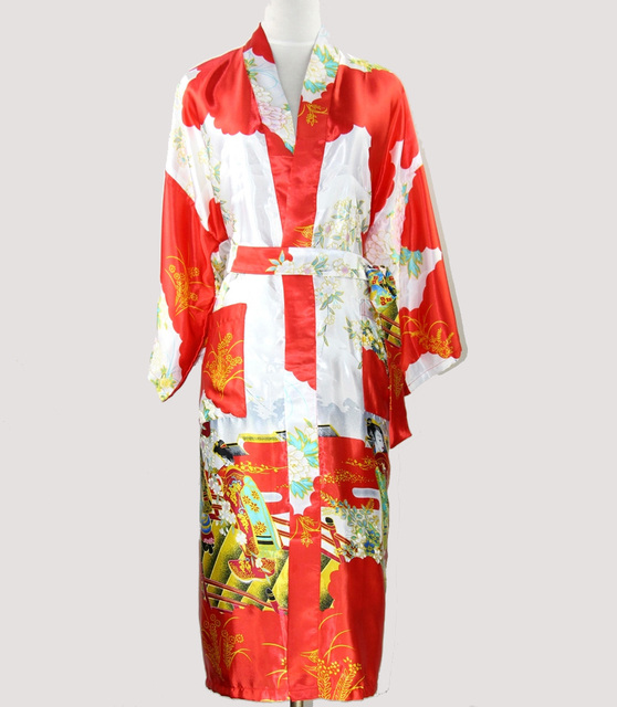 Китайский стиль женская банный халат платье шелковый район ночная рубашка старинные пижамы кимоно кафтан размер sml XL XXL XXXL WS09-B