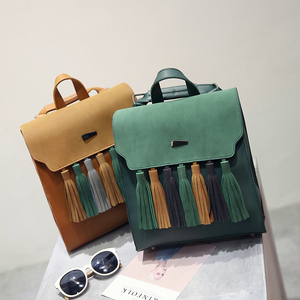Image 3 - Toposhine Fashion Tassel Hit Color Square Girls Backpack Scrub PU Leather Women Backpack Fashion School Bags 1617