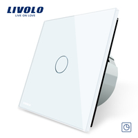 Livolo EU Standard Timer Switch 30s Delay 3 Color Crystal Glass Panel Light Touch Switch LED
