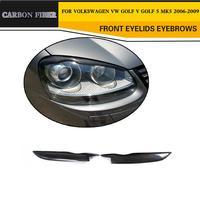 Carbon Fiber Car Front Eyebrows Headlight Eyelid Covers for Volkswagen VW Golf MK5 GTI R32 2006 2009