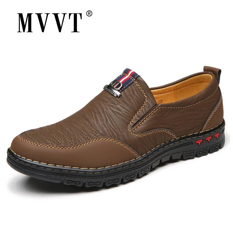 2018 Spring Split Leather Casual Shoes Men Loafers Slip-On Men Shoes Flats Comfortable Men Autumn Shoes Leather Moccasins