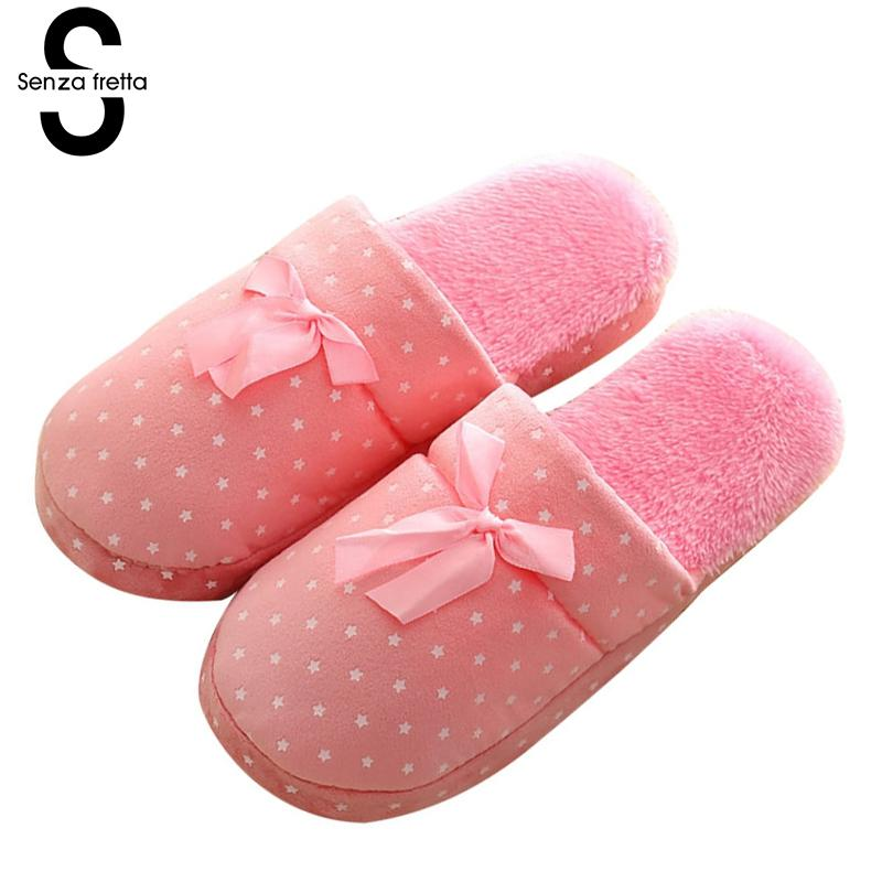 Senza Fretta Winter Warn Plush Slippers Indoor Butterfly Cotton Soft Bottom Slippers Couple Non-slip Warm Slippers Women Shoes senza fretta women shoes new summer pvc slippers couples women anti slip home slippers indoor soft bottom women slippers