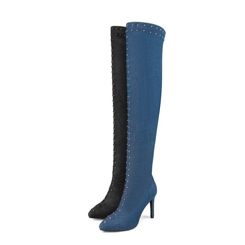 Hiver Le Automne Arrivée Bal Stiletto Bout Denim Nouvelle Bottes Noir bleu Genou 2018 Femmes Memunia Sexy Talons Femme Chaussures Pointu De Sur PIA7q