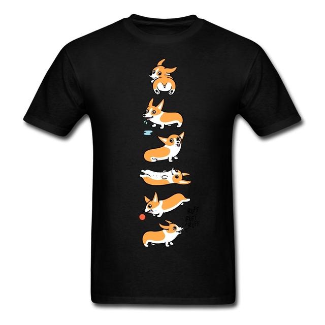 Tamanho grande Adorável Cão Corgi Homens Camisa Branca Ocasional de Manga Curta Grupo Personalizado Camisetas