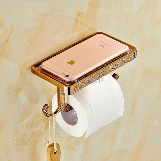 new arrival bathroom accessories toilet roll paper holder with phone rack wall mounted rose golden finish