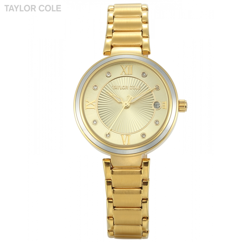 Taylor Cole Golden Aglaia Roman Date Crystal Woman Montre Femme Steel Metal Strap Quartz Analog Casual Watch With Gift Box/TC067 taylor cole relogio tc013