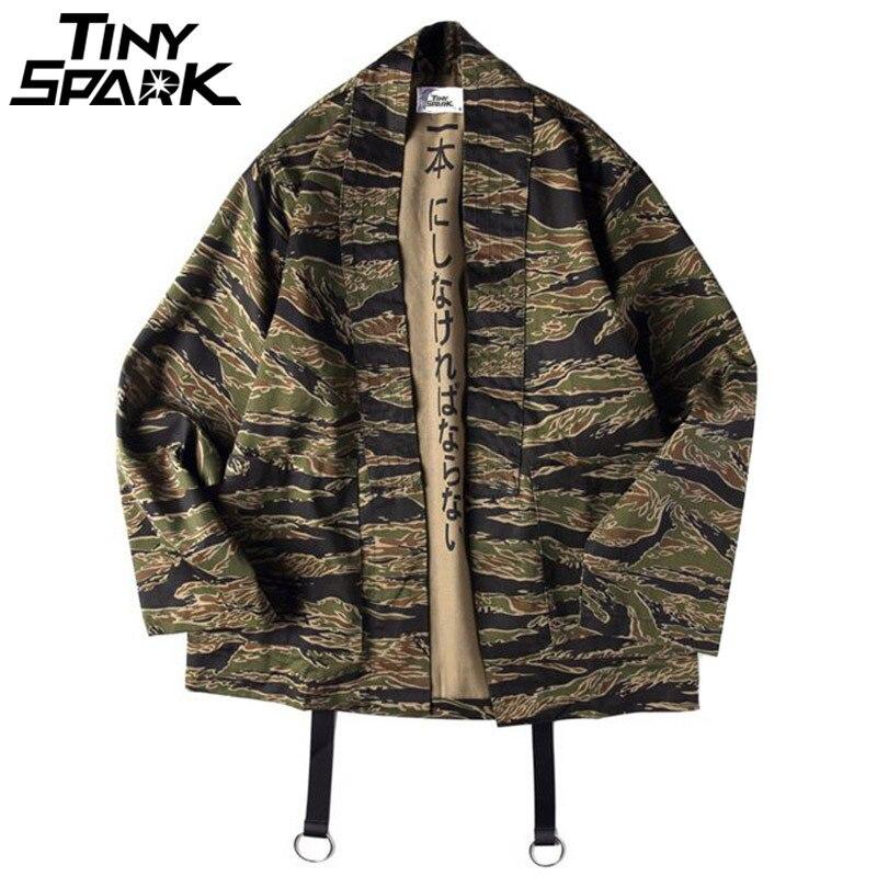 Chaqueta de camuflaje para Hombre Ropa de estilo japonés ropa de calle Casual camuflaje Kimonos chaqueta Harajuku Cardigan Outwear otoño 2018
