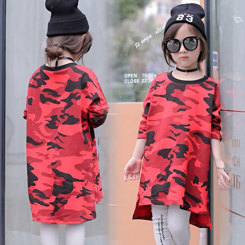 नई 2018 स्पिंग गर्ल्स छलावरण ड्रेस किड ढीली स्ट्रेट ड्रेस बच्चे बच्चों की लंबी बाजू की शर्ट बच्चा फैशन ड्रेस बिना बैग, 2-7Y