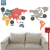 Large Creative Colorful World Map Clock Bedroom Mute Wall Clock Living Room Modern Hanging Clocks Decorate Home
