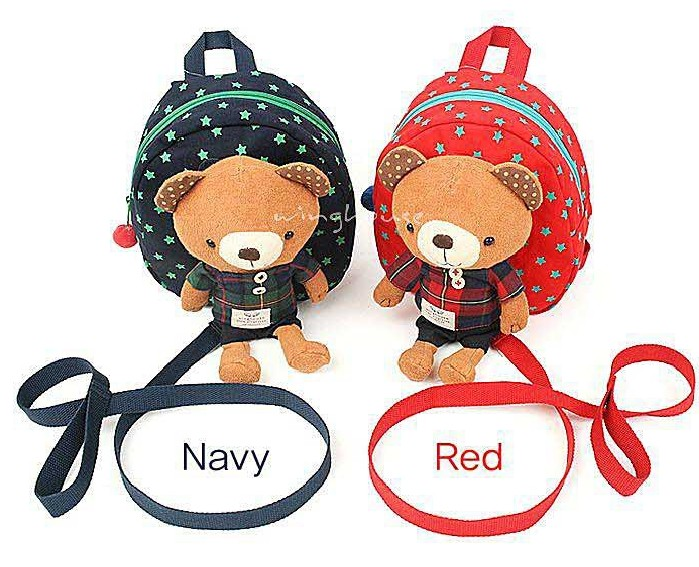 2 Colors Bear Harness Bag Plush Toy Backpack with Safty Strap 3-in-1 Harness Buddy Toddler Walking Rein ...