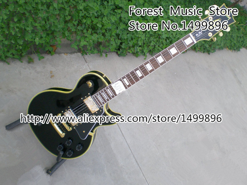 все цены на Black China LP Custom Model Electric Guitars Yellow Binding Guitarra Body & Kits Lefty Available